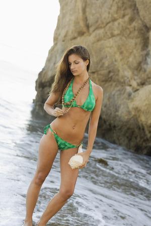 Portrait of Woman on Beach, Malibu, California, USA