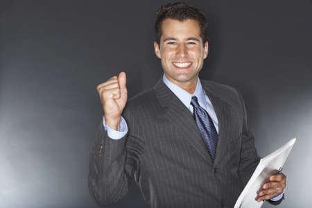 Portrait of Businessman Cheering