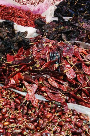 Chilies in Market, Patzcuaro, Michoacan, Mexico LANG_EVOIMAGES