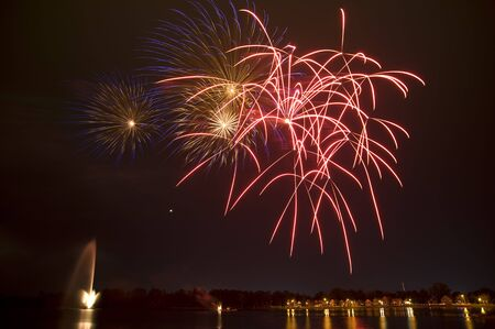 Fireworks over Little Lake, Peterborough, Ontario, Canada LANG_EVOIMAGES