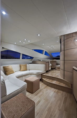 without windows: View of Living Area Aboard Abacus 62 Motorboat LANG_EVOIMAGES
