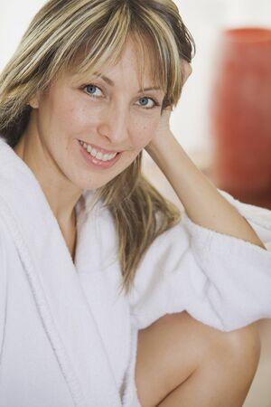 blond streaks: Portrait of Woman Wearing White Robe