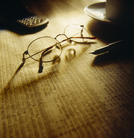 Finance Still Life, Spectacles on Stock Listings LANG_EVOIMAGES