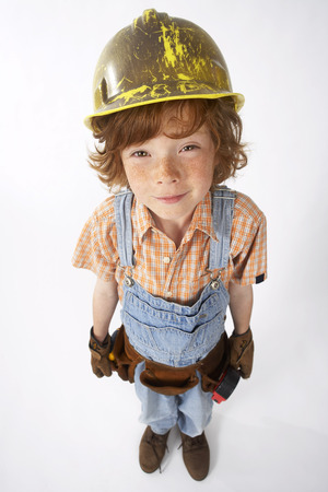 vocational high school: Little Boy Dressed Up as Construction Worker