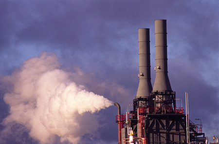 environmental issues: Air Pollution, Factory Chimney Emitting Fumes