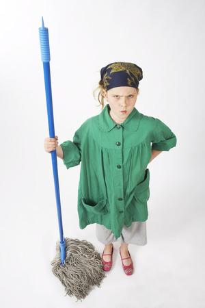 vocational high school: Little Girl Dressed Up as Janitor