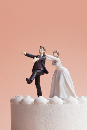 Wedding Cake Figurines, Bride Grabbing Runaway Groom