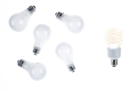 environmental issues: Compact Fluorescent Lightbulb with Incandescent Lightbulbs