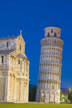 Leaning Tower and Cathedral at Night, Pisa, Tuscany, Italy