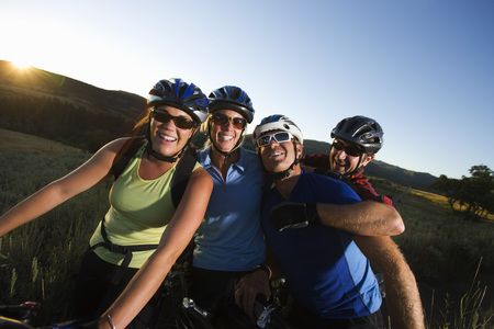 adversaries: Group of Mountain Bikers, Near Steamboat Springs, Routt County, Colorado, USA