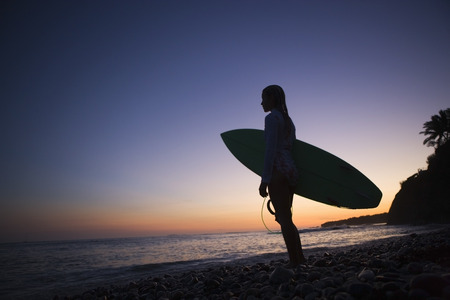 adventuresome: Surfer on the Beach Admiring the Sunset, Punta Burros, Nayarit, Mexico