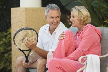 adversaries: Couple Playing Tennis, Florida, USA LANG_EVOIMAGES