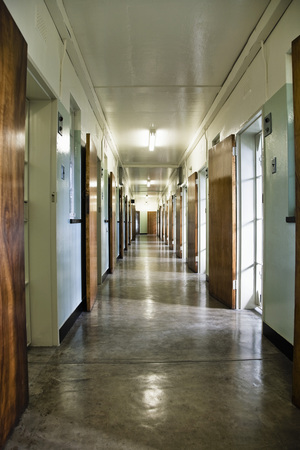 robben island: Hallway in Prison, Robben Island, Table Bay, South Africa LANG_EVOIMAGES