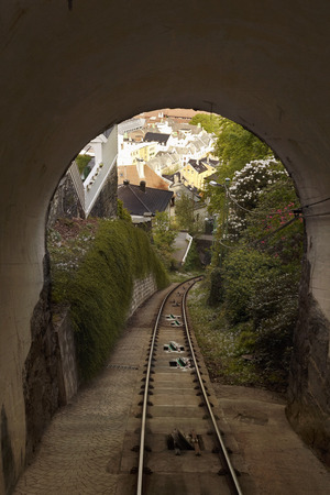 Flamsbana Railway Tracks, Looking Through Tunnel to the City of Bergen, Norway LANG_EVOIMAGES