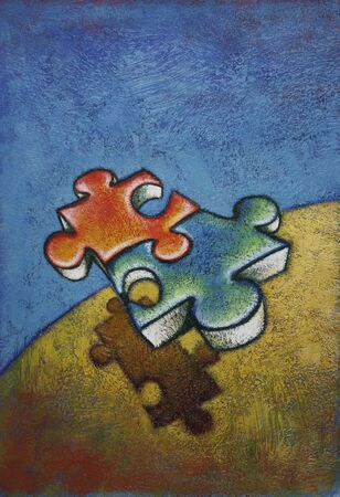 interdependence: Illustration of Puzzle Pieces Flying Over Landscape