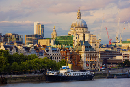 Saint Pauls Cathedral and Thames River, London, England