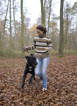 run down: Woman With Her Dog, Mannheim, Baden-Wurttemberg, Germany