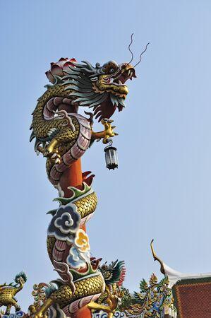 phra nakhon si ayutthaya: Architectural Detail of Dragon, Wat Phanan Choeng, Ayutthaya, Thailand