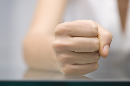disapprove: Close-up of Businesswomans Fist
