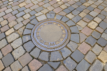 Cobblestone with Manhole Cover, Dresden, Saxony, Germany