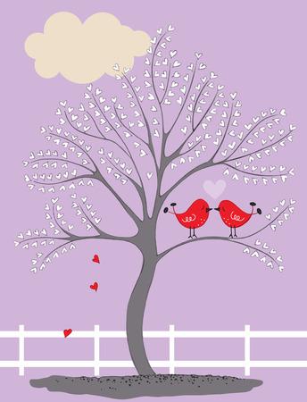 Illustration of Birds in a Tree Kissing LANG_EVOIMAGES