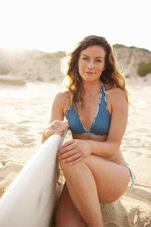 Woman and Surfboard, Baja California Sur, Mexico