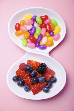 comparable: Bowl of Fruit and Jelly Beans