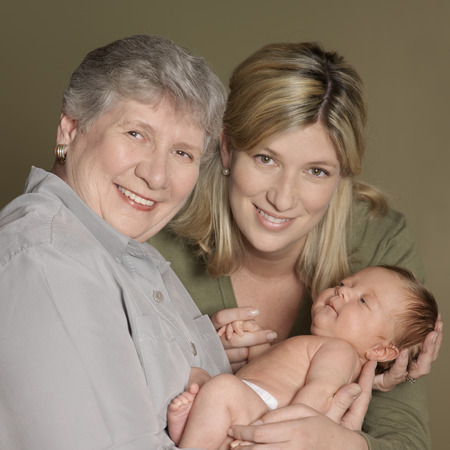 tenderly: Portrait of Mother and Grandmother With Newborn Baby