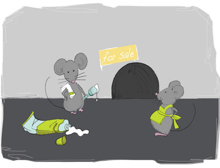 mousehole: Illustration of Mice Gettting ready to Sell Home LANG_EVOIMAGES