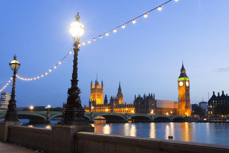 House of Parliament and Westminster Bridge Over the River Thames at Dusk, Westminster, London, England