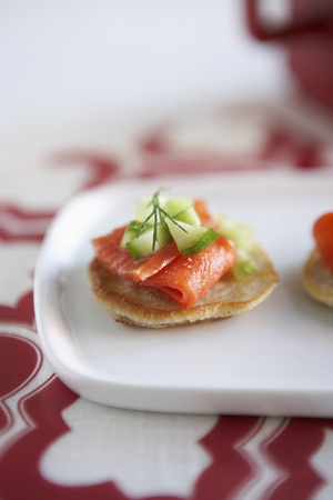 Mini Pancakes with Smoked Salmon, Cucumber and Dill