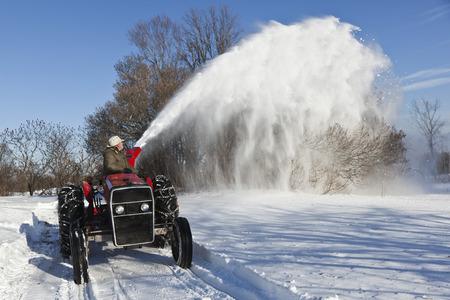 reversing: Tractor Snow Blower, Ontario, Canada