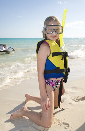 traje mexicano: Girl in Snorkeling Gear on Beach, Reef Playacar Resort and Spa, Playa del Carmen, Mexico
