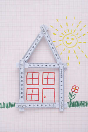 real estate sold: Folding Ruler in Shape of House with Drawings