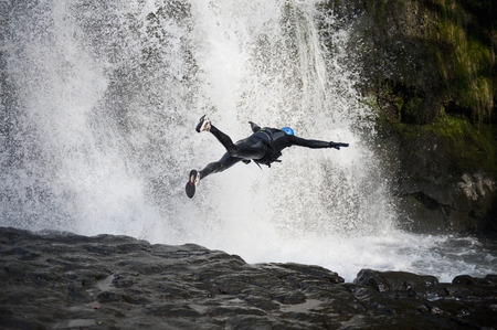 Canyoneering, Brecon Beacons National Park, South Wales, Wales LANG_EVOIMAGES