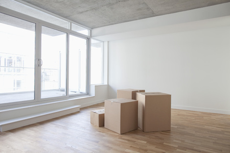 real estate sold: Empty Room and Boxes, Toronto, Ontario, Canada