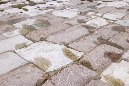 Paving Stones in Dry Riverbed, Saalach, Bad Reichenhall, Bavaria, Germany