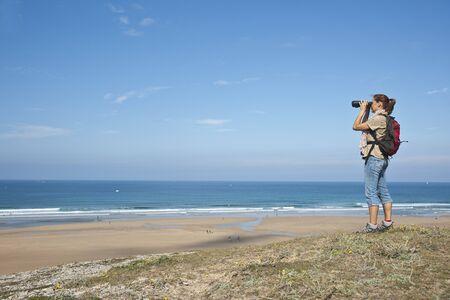 Woman on Beach, Camaret-sur-Mer, Finistere, Bretagne, France