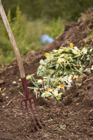 Pitch Fork in Organic Compost Pile, Laugaras, South Iceland, Iceland
