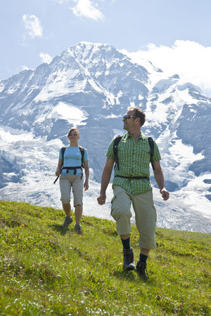 Couple Hiking, Bernese Oberland, Switzerland