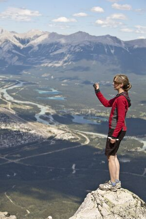 profile picture: Woman taking Photo, Whistlers Mountain, Jasper National Park, Alberta, Canada