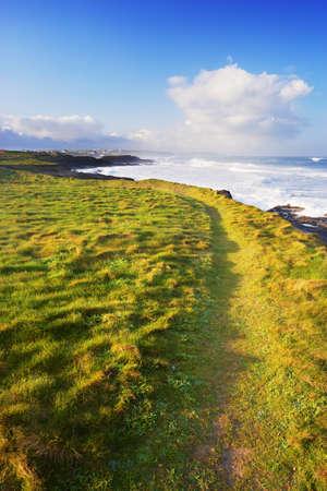 South West Coast Path leading around Grassy Coastline,Trevose Head,Cornwall,England