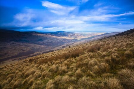 View towards Harthope Valley from Cheviot Hills,Northumberland National Park,Northumberland,England LANG_EVOIMAGES