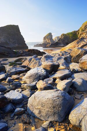 Boulders and Sea Stacks at Low Tide,Bedruthan Steps,Cornwall,England