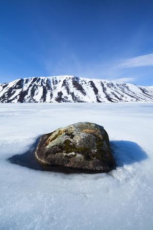 Rock in Ice on Loch Muick,Balmoral Estate,Cairngorms National Park,Scottish Highlands,Scotland