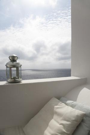 eolie: Lantern on Ledge of Terrace,Ginostra,Stromboli Island,Aeolian Islands,Italy