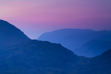 cumbria: Dusk over Mountains,Lake District National Park,Cumbria,England LANG_EVOIMAGES