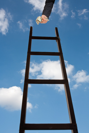 achievment: Businessman with Fist of Cash at Top of Ladder