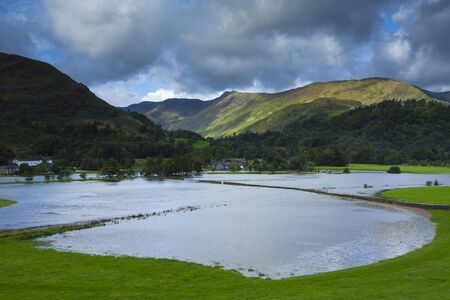 Flooded Farmland,Patterdale,Lake District National Park,Cumbria,England