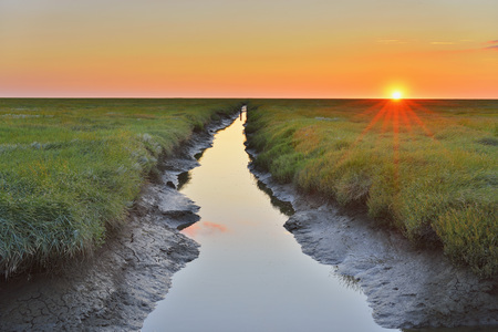 westerheversand: Tide Way,Westerheversand at Sunset in the Summer,Westerhever,Tating,Schleswig-Holstein,Germany